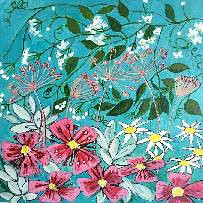 Jeanette Sutton magenta and turquoise flowers 2018 1 (002)